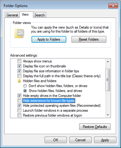 compilation choose hide extensions for known file types