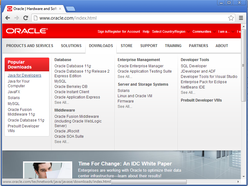 install java go to www.oracle.com