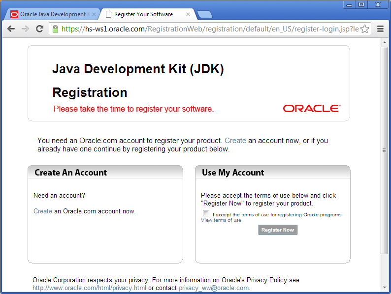 install java register product at oracle